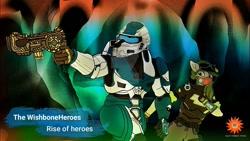 Size: 1280x720 | Tagged: safe, oc, pegasus, anthro, kaitlyn (the wishbone heroes), master wishbone (the wishbone heroes), my little pony, solar wishbone studios, wallpaper, wishbone heroes