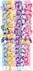 Size: 4579x9800 | Tagged: safe, artist:chub-wub, applejack, fili-second, fluttershy, humdrum, li'l cheese, masked matter-horn, mistress marevelous, pinkie pie, radiance, rainbow dash, rarity, saddle rager, spike, twilight sparkle, zapp, alicorn, crystal pony, dragon, earth pony, pegasus, pony, seapony (g4), unicorn, magical mystery cure, my little pony: the movie, power ponies (episode), princess twilight sparkle (episode), the best night ever, the crystal empire, the cutie map, the cutie re-mark, the last problem, the return of harmony, twilight's kingdom, absurd resolution, alternate hairstyle, alternate timeline, apocalypse dash, applejack's hat, baby, baby spike, bandana, big crown thingy, captain twilight, chrysalis resistance timeline, clothes, comic book, commonity, cowboy hat, crystal war timeline, crystallized, dashstorm, discorded, dress, element of generosity, element of honesty, element of kindness, element of laughter, element of loyalty, element of magic, elements of harmony, equal cutie mark, equalized, eyes closed, eyeshadow, female, filly, filly applejack, filly fluttershy, filly pinkie pie, filly rainbow dash, filly rarity, filly twilight sparkle, freckles, gala dress, grin, hat, jacket, jackletree, jewelry, makeup, male, mane seven, mane six, mare, mask, multeity, night maid rarity, nightmare takeover timeline, older, older applejack, older fluttershy, older mane seven, older mane six, older pinkie pie, older rainbow dash, older rarity, older spike, older twilight, open mouth, pinkamena diane pie, pirate, pirate applejack, pirate hat, pirate rainbow dash, pirate rarity, power ponies, rainbow power, raised hoof, regalia, sad, seaponified, seapony pinkie pie, shirt, smiling, so much flutter, sparkle sparkle sparkle, species swap, timeline, too much pink energy is dangerous, tribal pie, tribalshy, twilight sparkle (alicorn), unicorn twilight, vine, wall of tags, wet, wet mane, younger