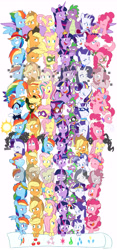 Size: 4579x9800 | Tagged: safe, alternate version, artist:chub-wub, applejack, fili-second, fluttershy, humdrum, li'l cheese, masked matter-horn, mistress marevelous, pinkie pie, radiance, rainbow dash, rarity, saddle rager, spike, twilight sparkle, zapp, alicorn, crystal pony, dragon, earth pony, pegasus, pony, seapony (g4), unicorn, magical mystery cure, my little pony: the movie, power ponies (episode), princess twilight sparkle (episode), the best night ever, the crystal empire, the cutie map, the cutie re-mark, the last problem, the return of harmony, twilight's kingdom, absurd resolution, alternate hairstyle, alternate timeline, apocalypse dash, applejack's hat, baby, baby spike, bandana, big crown thingy, captain twilight, chrysalis resistance timeline, clothes, comic book, commonity, cowboy hat, crystal war timeline, crystallized, dashstorm, discorded, dress, element of generosity, element of honesty, element of kindness, element of laughter, element of loyalty, element of magic, elements of harmony, equal cutie mark, equalized, eyes closed, eyeshadow, female, filly, filly applejack, filly fluttershy, filly pinkie pie, filly rainbow dash, filly rarity, filly twilight sparkle, freckles, gala dress, grin, hat, jacket, jackletree, jewelry, makeup, male, mane seven, mane six, mare, mask, multeity, night maid rarity, nightmare takeover timeline, older, older applejack, older fluttershy, older mane seven, older mane six, older pinkie pie, older rainbow dash, older rarity, older spike, older twilight, open mouth, pinkamena diane pie, pirate, pirate applejack, pirate hat, pirate rainbow dash, pirate rarity, power ponies, rainbow power, raised hoof, regalia, sad, seaponified, seapony pinkie pie, shirt, smiling, so much flutter, sparkle sparkle sparkle, species swap, timeline, too much pink energy is dangerous, tribal pie, tribalshy, twilight sparkle (alicorn), unicorn twilight, vine, wall of tags, wet, wet mane, white background, younger
