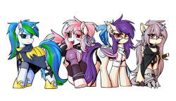 Size: 3779x2160 | Tagged: safe, artist:movieskywalker, derpibooru exclusive, oc, oc only, oc:cyanine willow, oc:moontrace, oc:sharlight twiler, oc:sunset cloudy, bat pony, dracony, dragon, ice phoenix, phoenix, pony, unicorn, 2021 community collab, derpibooru community collaboration, armor, bat pony oc, bat wings, cloak, clothes, crystal horn, doctor, draco, dracony oc, female, frog (hoof), glasses, green eyes, group, group photo, guardsmare, hoof shoes, horn, looking at you, mare, multicolored eyes, multicolored hair, red eyes, royal guard, shorts, simple background, smiling, sports outfit, sports shorts, transparent background, underhoof, unicorn oc, uniform, white skin, wings, yellow skin