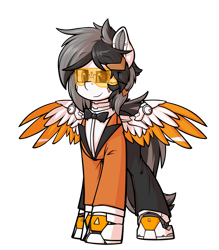 Size: 1888x2160 | Tagged: safe, artist:movieskywalker, derpibooru exclusive, oc, oc only, oc:shamal, cyborg, cyborg pony, pegasus, pony, 2021 community collab, derpibooru community collaboration, clothes, female, females only, goggles, looking at you, pegasus oc, simple background, smiling, solo, solo female, suit, transparent background, uniform, wings