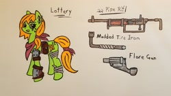 Size: 3052x1717 | Tagged: safe, artist:dice-warwick, oc, oc:lottery, earth pony, pony, fallout equestria, armored leg, clothes, ear piercing, flare gun, freckles, piercing, pipe rifle, scarf, solo, tire iron