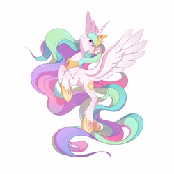 Size: 3000x3000 | Tagged: safe, alternate version, artist:drtuo4, princess celestia, alicorn, pony, crown, female, flying, high res, hoof shoes, jewelry, looking up, mare, regalia, simple background, solo, spread wings, white background, wings