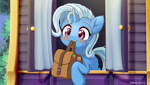 Size: 2840x1600 | Tagged: safe, artist:symbianl, trixie, pony, unicorn, to where and back again, :3, bag, blushing, cute, diatrixes, mouth hold, saddle bag, scene interpretation, solo, to saddlebags and back again, trixie's wagon, weapons-grade cute