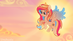 Size: 3556x2000 | Tagged: safe, artist:limedazzle, oc, oc:luminous sentry, alicorn, pony, crown, female, flying, high res, jewelry, mare, regalia, solo