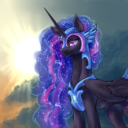 Size: 1920x1920 | Tagged: safe, artist:not-ordinary-pony, derpibooru exclusive, twilight sparkle, alicorn, pony, cloud, crepuscular rays, ethereal mane, female, glowing eyes, helmet, horn, long mane, mare, nightmare twilight, nightmarified, peytral, sky, solo, starry mane, sun, wings