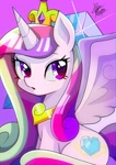 Size: 1448x2048 | Tagged: safe, artist:yuyutsuka_0130, princess cadance, alicorn, pony, crown, cute, cutedance, female, jewelry, mare, open mouth, regalia, sitting, solo