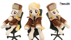 Size: 1280x720 | Tagged: safe, artist:nekokevin, march gustysnows, earth pony, pony, clothes, female, hat, irl, jacket, lidded eyes, life size, looking at you, mare, necktie, photo, plushie, raised hoof, shirt, side view, sitting, smiling, solo, underhoof