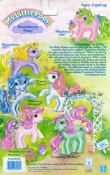 Size: 709x1119 | Tagged: safe, blueberry baskets, boysenberry pie, cherry treats, cranberry muffins, raspberry jam, strawberry surprise, bee, insect, pony, g1, official, backcard, backcard story, barcode, basket, berries, bow, mane bow, pun, sweetberry ponies, tail bow, trellis, vine