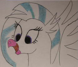 Size: 541x462   Tagged: safe, artist:polar_storm, silverstream, classical hippogriff, hippogriff, bust, female, partial color, purple eyes, simple background, smiling, solo, traditional art, white background