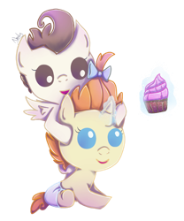 Size: 1024x1231   Tagged: safe, artist:nnaly, pound cake, pumpkin cake, pegasus, pony, unicorn, baby, baby pony, brother and sister, cake twins, colt, cupcake, cute, diaper, female, filly, food, magic, male, siblings, simple background, telekinesis, transparent background, twins