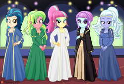 Size: 3034x2057   Tagged: safe, artist:tabrony23, indigo zap, lemon zest, sour sweet, sugarcoat, sunny flare, equestria girls, bedroom eyes, breasts, cleavage, clothes, commission, costume, crystal prep shadowbolts, dress, female, high res, lidded eyes, long dress, looking at you, medieval, middle ages, patreon, patreon logo, shadow five, shadowbolts, smiling