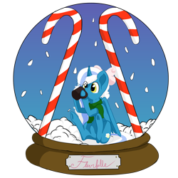 Size: 1600x1600   Tagged: safe, artist:kiesecret, oc, oc:fleurbelle, alicorn, bow, candy, candy cane, clothes, cup, drinking, food, hair bow, scarf, simple background, sitting, snow, snow globe, transparent background, yellow eyes