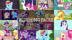 Size: 1958x1101 | Tagged: safe, edit, edited screencap, editor:quoterific, screencap, applejack, dusty pages, fluttershy, pinkie pie, princess cadance, princess ember, rainbow dash, rarity, shining armor, spike, starlight glimmer, twilight sparkle, alicorn, rarity takes manehattan, simple ways, suited for success, the last roundup, the mean 6, the mysterious mare do well, the one where pinkie pie knows, the point of no return, the super speedy cider squeezy 6000, triple threat, twilight's kingdom, uncommon bond, blushing, floppy ears, mane six, twilight sparkle (alicorn)