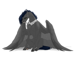 Size: 1900x1500 | Tagged: safe, artist:dementra369, oc, oc:ruby drop, pegasus, pony, collar, ear piercing, earring, fangs, female, grooming, hoers, jewelry, mare, piercing, preening, simple background, sitting, solo, spiked collar, white background