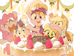 Size: 3200x2400 | Tagged: safe, artist:nendo, applejack, fluttershy, pinkie pie, rainbow dash, rarity, twilight sparkle, earth pony, pegasus, pony, unicorn, :o, apple, cake, chef's hat, chocolate, christmas, eyes closed, food, freckles, fruit, hat, high res, holiday, mane six, messy, messy eating, misspelling, obligatory apple, open mouth, smiling, strawberry, unicorn twilight, whipped cream