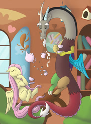 Size: 1024x1391   Tagged: safe, artist:verikoira, discord, fluttershy, draconequus, pegasus, pony, cup, duo, eyes closed, female, floating, fluttershy's cottage, friendship, male, mare, missing cutie mark, smiling, tea, tea party, teacup, teapot