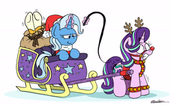 Size: 6000x3708   Tagged: safe, artist:bobthedalek, starlight glimmer, sunburst, trixie, pony, unicorn, animal costume, antlers, bell, bell collar, blushing, bridle, christmas, clothes, coat markings, collar, costume, cuffs, female, glowing horn, gritted teeth, harness, hat, hearth's warming, holiday, horn, implied spanking, inconvenient trixie, jingle bells, magic, male, mare, pulling sleigh, red nose, reindeer antlers, reindeer costume, sack, santa costume, santa hat, signature, simple background, sleigh, socks (coat markings), stallion, starlight is not amused, tack, telekinesis, unamused, whip, whipping, white background, wide eyes