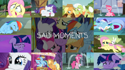 Size: 1992x1121 | Tagged: safe, edit, edited screencap, editor:quoterific, screencap, angel bunny, applejack, fluttershy, granny smith, pinkie pie, rainbow dash, rarity, tank, twilight sparkle, alicorn, earth pony, pegasus, pony, rabbit, squirrel, tortoise, unicorn, a dog and pony show, apple family reunion, baby cakes, filli vanilli, friendship is magic, hurricane fluttershy, make new friends but keep discord, may the best pet win, once upon a zeppelin, school daze, sisterhooves social, tanks for the memories, the last problem, animal, clothes, collage, crying, crying on the outside, crylight sparkle, dashie slippers, element of laughter, fluttercry, mane six, nose blowing, ocular gushers, pinkie cry, sad pony, sad smile, sadbow dash, sadjack, slippers, tank slippers, tears of joy, twilight sparkle (alicorn)