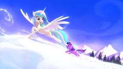 Size: 2480x1395 | Tagged: safe, artist:imalou, princess celestia, twilight sparkle, alicorn, unicorn, cute, cutelestia, female, filly, filly twilight sparkle, floppy ears, momlestia, open mouth, running, snow, twiabetes, unicorn twilight, winter, younger