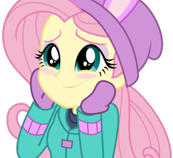 Size: 3491x3178   Tagged: safe, artist:sketchmcreations, fluttershy, blizzard or bust, equestria girls, equestria girls series, holidays unwrapped, spoiler:eqg series (season 2), blushing, bunny ears, clothes, coat, cute, eye shimmer, female, gloves, hand on face, hands on face, happy, hat, mittens, shyabetes, simple background, smiling, toque, transparent background, vector, winter outfit