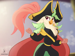 Size: 2858x2160 | Tagged: safe, artist:zidanemina, captain celaeno, parrot pirates, my little pony: the movie, alternate design, alternate hairstyle, cape, celaeno's airship, clothes, ear piercing, earring, female, hat, jewelry, looking sideways, piercing, pirate, sky, smiling, solo