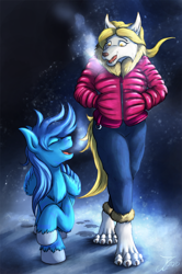 Size: 1164x1750   Tagged: safe, artist:jamescorck, oc, pegasus, pony, wolf, anthro, clothes, cloven hooves, duo, eyes closed, furry, hands in pockets, jacket, open mouth, pants, snow, winter