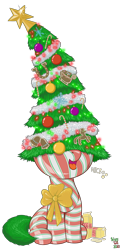 Size: 1800x3700 | Tagged: safe, artist:wispy tuft, pony, bow, candy, candy cane, christmas, christmas lights, christmas tree, eggnog, female, filly, food, gift wrapped, gingerbread (food), hearth's warming, hearth's warming eve, hearth's warming tree, holiday, ornaments, png, present, simple background, stars, tacky, tinsel, transparent background, tree, wholesome, wrapping paper