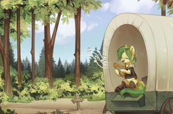 Size: 4005x2644   Tagged: safe, artist:mirroredsea, oc, oc only, oc:rhythm fruit, pony, unicorn, bush, clothes, eyes closed, female, forest, freckles, glasses, jacket, leggings, lyre, mare, music notes, musical instrument, open mouth, playing instrument, scenery, shirt, shoes, sign, sitting, smiling, solo, t-shirt, tree, wagon