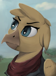 Size: 1280x1724   Tagged: safe, artist:monx94, oc, oc only, griffon, equestria at war mod, beak, bust, resistance, simple background, solo, waifu, wings