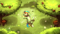 Size: 1920x1080   Tagged: safe, artist:colorfulcolor233, oc, oc only, earth pony, pony, apple, apple tree, arm behind head, basket, chest fluff, commission, crossed legs, eyes closed, grass, hair over one eye, lying down, male, multicolored hair, on back, pale belly, rainbow hair, rainbow tail, relaxing, smiling, solo, stallion, straw in mouth, tree