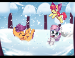 Size: 6700x5200 | Tagged: safe, artist:opal_radiance, apple bloom, scootaloo, sweetie belle, earth pony, pegasus, unicorn, bow, cute, cutealoo, cutie mark crusaders, eyes closed, female, filly, hair bow, jumping, open mouth, playing, snow, snowfall