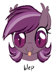 Size: 288x386   Tagged: safe, artist:toroitimu, oc, oc only, oc:iris, bat pony, pony, :p, bat pony oc, bat wings, fangs, female, looking at you, mare, simple background, smiling, solo, tongue out, white background, wings
