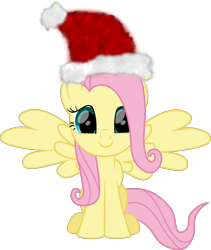Size: 1440x1703 | Tagged: safe, artist:lincolnbrewsterfan, derpibooru exclusive, part of a set, fluttershy, pegasus, .svg available, christmas, cute, happy, hat, holiday, inkscape, lincolnbrewsterfan is trying to murder us, lincolnbrewsterfan's christmas ponies, looking at you, santa hat, shyabetes, simple background, sitting, smiling at you, solo, spread wings, svg, transparent background, vector, weapons-grade cute, wings, winter
