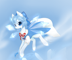 Size: 1000x824   Tagged: safe, artist:狄优优, fairy, fairy pony, original species, pony, bow, cirno, clothes, crossover, cute, dress, fairy wings, female, ice, mare, ponified, solo, touhou, wings
