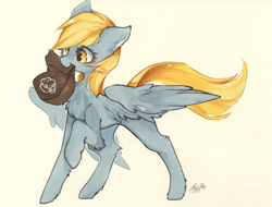 Size: 2234x1700 | Tagged: safe, artist:狄优优, derpy hooves, pegasus, pony, bag, blushing, chest fluff, cute, derp, derpabetes, ear fluff, female, leg fluff, mare, mouth hold, paper bag, pixiv, raised hoof, simple background, solo, traditional art, watercolor painting, white background, yellow background