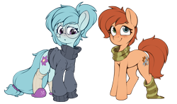 Size: 1993x1172 | Tagged: safe, artist:rexyseven, derpibooru exclusive, oc, oc only, oc:rusty gears, oc:whispy slippers, earth pony, pony, 2021 community collab, derpibooru community collaboration, clothes, female, freckles, glasses, heterochromia, mare, scarf, simple background, slippers, sock, socks, striped socks, sweater, transparent background, turtleneck