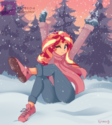Size: 2190x2448 | Tagged: source needed, safe, artist:xjenn9, sunset shimmer, equestria girls, arms in the air, blushing, clothes, crossed legs, cute, female, forest, grin, looking at you, mittens, one eye closed, patreon, patreon logo, scarf, shimmerbetes, shoes, signature, sitting, smiling, sneakers, snow, snowball, snowfall, solo, tree, wink