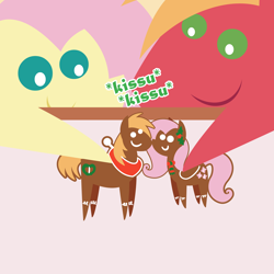 Size: 2160x2160 | Tagged: safe, anonymous artist, big macintosh, fluttershy, earth pony, pegasus, pony, series:fm holidays, series:hearth's warming advent calendar, advent calendar, christmas, cookie, female, fluttermac, food, gingerbread (food), gingerbread pony, holiday, hoof hold, kissu, lineless, male, now kiss, pointy ponies, shipping, straight