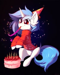 Size: 2555x3167 | Tagged: safe, artist:vincher, oc, oc only, pony, unicorn, abstract background, birthday, birthday cake, cake, candle, clothes, commission, crying, cute, ear fluff, eye clipping through hair, female, food, hat, mare, not vinyl scratch, party hat, party horn, pubic fluff, sitting, smiling, solo, strawberry, sweater, tears of joy