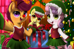 Size: 3150x2100 | Tagged: safe, artist:darksly, apple bloom, scootaloo, sweetie belle, earth pony, pegasus, unicorn, semi-anthro, christmas, christmas tree, clothes, costume, cutie mark crusaders, elf costume, holiday, open mouth, present, red nose, tree