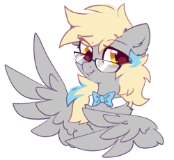 Size: 853x786 | Tagged: safe, artist:mirtash, derpy hooves, pegasus, pony, alternate universe, bowtie, cute, derpabetes, eye clipping through hair, glasses, redesign, simple background, solo, white background