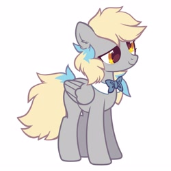 Size: 2500x2500 | Tagged: safe, artist:mirtash, derpy hooves, pegasus, pony, alternate universe, bowtie, cute, derpabetes, redesign, simple background, solo, white background