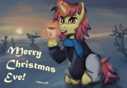 Size: 1280x888 | Tagged: safe, artist:monx94, oc, oc only, oc:sunrise moonshadow, pony, unicorn, christmas, clothes, commission, cup, ear fluff, full body, glowing horn, holiday, horn, looking at you, magic, male, mane, open mouth, outdoors, scarf, sitting, smiling, snow, solo, stallion, sun, sunset, winter