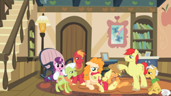 Size: 2064x1160 | Tagged: safe, artist:amarthgul, artist:boneswolbach, artist:not-yet-a-brony, artist:tomfraggle, apple bloom, applejack, big macintosh, bright mac, grand pear, granny smith, pear butter, sugar belle, pony, apple family, apple siblings, apple sisters, apples and pears, brightbutter, brother and sister, christmas, crying, days gone by, family, family reunion, father and child, father and daughter, father and daughter-in-law, father and son, father and son-in-law, female, grandfather and grandchild, grandfather and granddaughter, grandfather and grandson, grandmother and grandchild, grandmother and granddaughter, grandmother and granddaughter-in-law, grandmother and grandson, guitar, hearth's warming, heartwarming, holiday, hug, husband and wife, living room, lyrics in the description, male, mother and child, mother and daughter, mother and daughter-in-law, mother and son, musical instrument, reunion, shipping, siblings, sister-in-law, sisters, smiling, straight, sugarmac, sweet apple acres, tears of joy, the whole apple family, youtube link