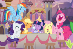 Size: 933x627 | Tagged: safe, screencap, applejack, fluttershy, pinkie pie, rainbow dash, rarity, spike, twilight sparkle, alicorn, earth pony, pegasus, pony, unicorn, memories and more, the last problem, spoiler:memories and more, clothes, coronation dress, cropped, crown, cute, dress, eyes closed, female, flying, hoof shoes, jewelry, laughing, mane seven, mane six, mare, offscreen character, open mouth, regalia, second coronation dress, sitting, twilight sparkle (alicorn), uvula, volumetric mouth
