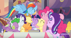 Size: 1291x690   Tagged: safe, screencap, applejack, fluttershy, pinkie pie, rainbow dash, rarity, spike, starlight glimmer, twilight sparkle, alicorn, dragon, earth pony, pegasus, pony, unicorn, memories and more, the last problem, spoiler:memories and more, 9now, ^^, clothes, coronation dress, cropped, crown, cute, daaaaaaaaaaaw, dashabetes, diapinkes, dress, eyes closed, glimmerbetes, group, group hug, hug, jackabetes, jewelry, mane seven, mane six, raribetes, regalia, second coronation dress, shyabetes, smiling, spikabetes, twiabetes, twilight sparkle (alicorn)