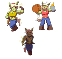Size: 2000x1900 | Tagged: safe, artist:metadoodles, granny smith, anthro, abs, bicep, blushing, boots, chibi, cider, clothes, commission, female, flexing, gloves, granny smash, jeans, mare, muscles, muscular female, one eye closed, pants, shoes, smiling, sports bra, vein bulge, wink, young granny smith, younger