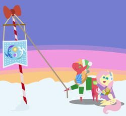 Size: 2520x2304 | Tagged: safe, anonymous artist, big macintosh, fluttershy, oc, oc:late riser, earth pony, pegasus, pony, series:fm holidays, series:hearth's warming advent calendar, advent calendar, baby, baby bottle, baby pony, christmas, clothes, colt, earmuffs, equestrian flag, family, female, flag pole, fluttermac, hat, hearth's warming, hearth's warming eve, high res, holding a pony, holiday, lineless, male, offspring, parent:big macintosh, parent:fluttershy, parents:fluttermac, pointy ponies, scarf, shipping, straight, sweater, turtleneck, winter outfit