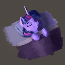 Size: 1000x1000   Tagged: safe, artist:dummyhorse, twilight sparkle, pony, bed, blanket, bust, eyes closed, female, horn, lying down, mare, on back, pillow, sleeping, smiling, solo